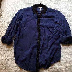 Splendid blue with black button down shirt